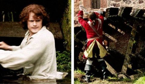 On-screen repairs being made by Jamie and a helpful Redcoat. Image via: Pinterest