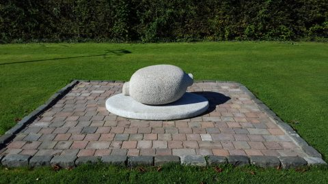 Granite Haggis sculpture which adorns the Poets Path in Alloway