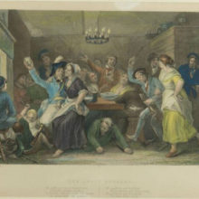 Tinted engraving inspired by Burns's poem, The Jolly Beggars, c1800 (Robert Burns Birthplace Museum)
