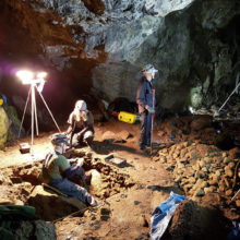 archaeologists digging in caves at culzean castle scotland