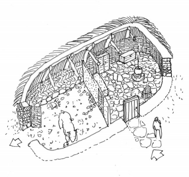 Turf House drawing Scotland
